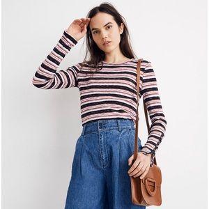 Madewell Elsie Stripe Button long Sleeve Tee Top